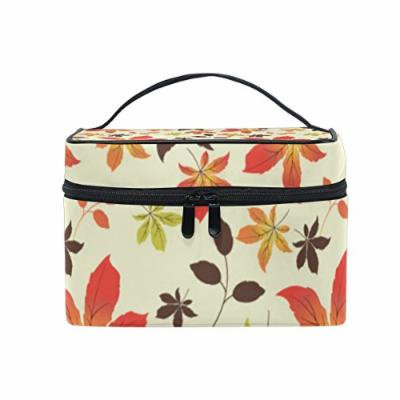 Portable Travel Makeup Cosmetic Bag Floral Autumn Maple Leaves Pattern Durable Toiletry Organizer Train Case for Women Girls