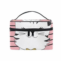 Portable Travel Makeup Cosmetic Bag Cute Princess Cat Pink Durable Toiletry Organizer Train Case for Women Girls