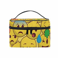 Portable Travel Makeup Cosmetic Bag Awesome Crowd Emoji Emotion Durable Toiletry Organizer Train Case for Women Girls