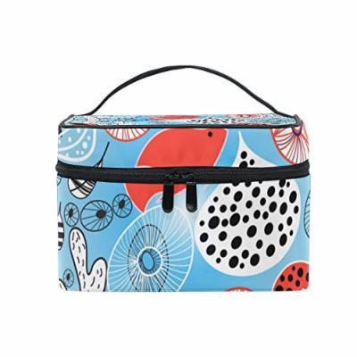 Portable Travel Makeup Cosmetic Bag Abstract Coral and Fish Pattern Durable Toiletry Organizer Train Case for Women Girls