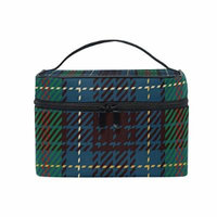 Portable Travel Makeup Cosmetic Bag Traditional Green Tartan Pattern Durable Toiletry Organizer Train Case for Women Girls