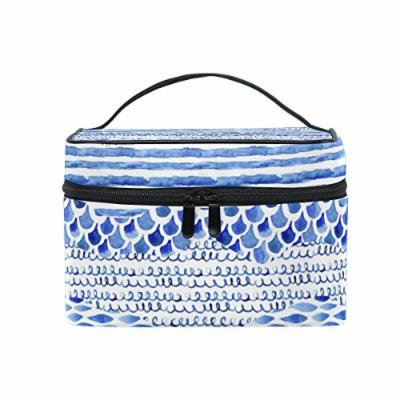 Portable Travel Makeup Cosmetic Bag Watercolor Wave Durable Toiletry Organizer Train Case for Women Girls
