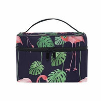 Portable Travel Makeup Cosmetic Bag Watercolor Flamingo Durable Toiletry Organizer Train Case for Women Girls