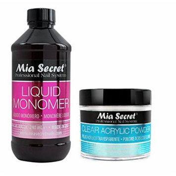 Mia Secret Liquid Monomer 4/8/16/32 oz AND Acrylic White Clear Pink Natural Pink MultiBalance 2/4/8 oz (8 oz Monomer, 2 oz Clear)