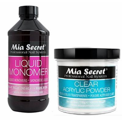 Mia Secret Liquid Monomer 4/8/16/32 oz AND Acrylic White Clear Pink Natural Pink MultiBalance 2/4/8 oz (8 oz Monomer, 4 oz clear) + FREE Temporary Body Tattoo!