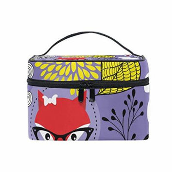 Portable Travel Makeup Cosmetic Bag Cute Red Foxes Leaves Durable Toiletry Organizer Train Case for Women Girls