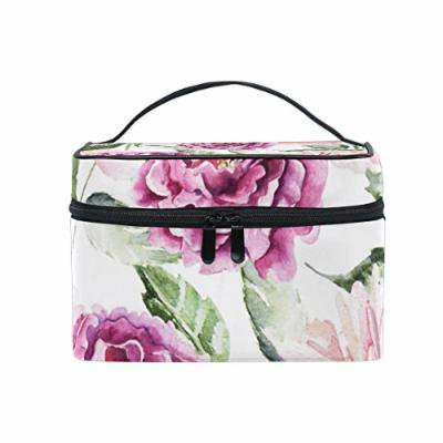 Portable Travel Makeup Cosmetic Bag Watercolor Peonies Flowers Durable Toiletry Organizer Train Case for Women Girls
