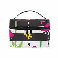 Portable Travel Makeup Cosmetic Bag Summer Tropical Flamingo Palm Tree Flower Pineapple Durable Toiletry Organizer Train Case for Women Girls