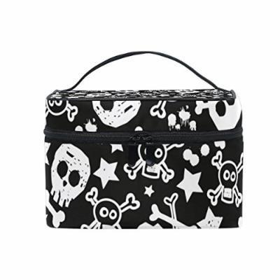 Portable Travel Makeup Cosmetic Bag Black White Skull Stars Pattern Durable Toiletry Organizer Train Case for Women Girls