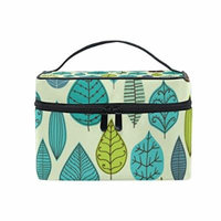 Portable Travel Makeup Cosmetic Bag Green Leaves Theme Durable Toiletry Organizer Train Case for Women Girls