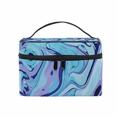 Portable Travel Makeup Cosmetic Bag Exotic Abstract Marble Texture Pattern Durable Toiletry Organizer Train Case for Women Girls