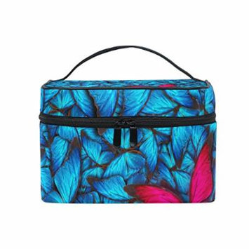 Portable Travel Makeup Cosmetic Bag Beautiful Different Butterflys Durable Toiletry Organizer Train Case for Women Girls