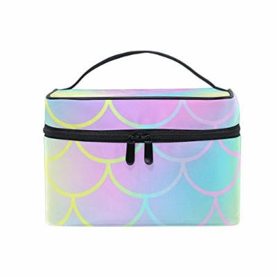 Portable Travel Makeup Cosmetic Bag Candy Color Mermaid Fish Scale Pattern Durable Toiletry Organizer Train Case for Women Girls