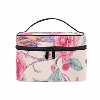Portable Travel Makeup Cosmetic Bag Floral Watercolor Birds Pink Durable Toiletry Organizer Train Case for Women Girls