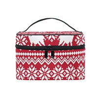 Portable Travel Makeup Cosmetic Bag Tradition Christmas Deer Durable Toiletry Organizer Train Case for Women Girls