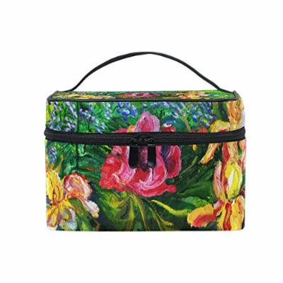 Portable Travel Makeup Cosmetic Bag Oil Painting Flower Durable Toiletry Organizer Train Case for Women Girls