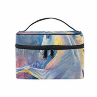 Portable Travel Makeup Cosmetic Bag Unicorn Horse Rearing Up Durable Toiletry Organizer Train Case for Women Girls