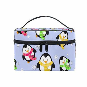 Portable Travel Makeup Cosmetic Bag Winter Penguins Snowflakes Durable Toiletry Organizer Train Case for Women Girls