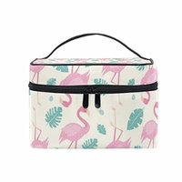 Portable Travel Makeup Cosmetic Bag Fun Holiday Flamingo Durable Toiletry Organizer Train Case for Women Girls