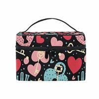 Portable Travel Makeup Cosmetic Bag Loves Locks Keys Durable Toiletry Organizer Train Case for Women Girls