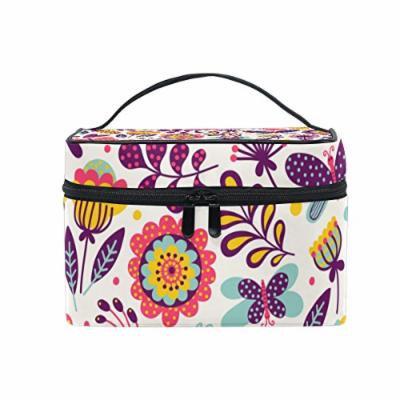 Portable Travel Makeup Cosmetic Bag Butterflies Beetles Flowers Durable Toiletry Organizer Train Case for Women Girls