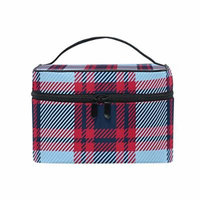 Portable Travel Makeup Cosmetic Bag Tartan Plaid Pattern Durable Toiletry Organizer Train Case for Women Girls