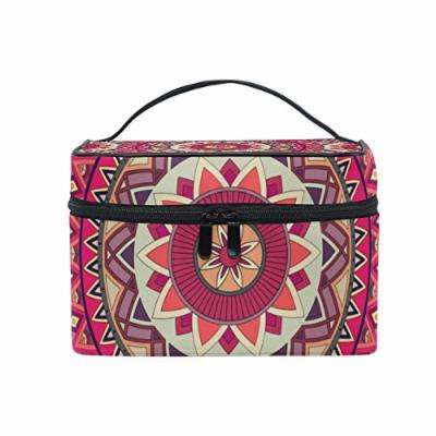 Portable Travel Makeup Cosmetic Bag Traditional Mandala Circles Ethnic Floral Durable Toiletry Organizer Train Case for Women Girls