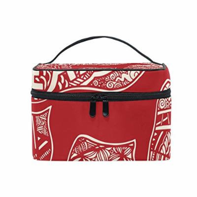 Portable Travel Makeup Cosmetic Bag 2018 Happy New Year Dog Durable Toiletry Organizer Train Case for Women Girls