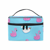 Portable Travel Makeup Cosmetic Bag Floating Flamingo and Unicorn Durable Toiletry Organizer Train Case for Women Girls