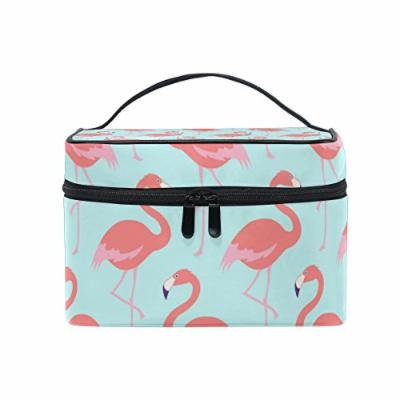 Portable Travel Makeup Cosmetic Bag Flamingo Floral Durable Toiletry Organizer Train Case for Women Girls