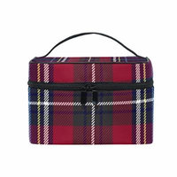 Portable Travel Makeup Cosmetic Bag Red Navy Blue Checkered Plaid Durable Toiletry Organizer Train Case for Women Girls