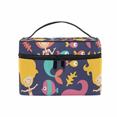 Portable Travel Makeup Cosmetic Bag Mermaids Fishes Stars Durable Toiletry Organizer Train Case for Women Girls