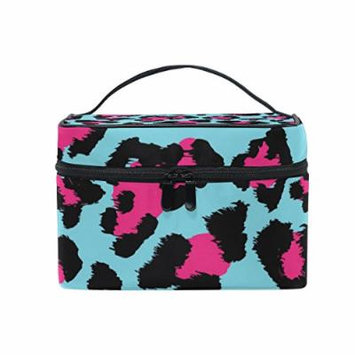 Portable Travel Makeup Cosmetic Bag Beautiful Leopard Print Durable Toiletry Organizer Train Case for Women Girls