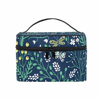 Portable Travel Makeup Cosmetic Bag Floral Summer Herbs Butterflies Durable Toiletry Organizer Train Case for Women Girls