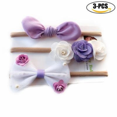 Baby Girls Hairband, Fascigirl 3 PCS Baby Hair Wrap Bowknot Flower Decor Elastic Nylon Headband