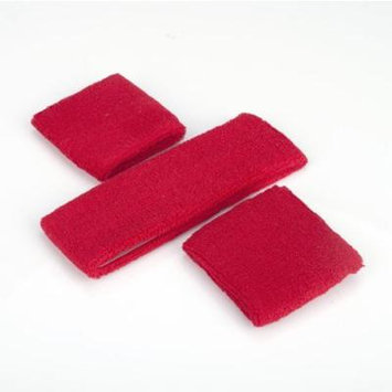 GOGO Thick Solid Color Sweatband Set (1 Headband + 2 Wristbands), Price for ONE DOZEN-Red