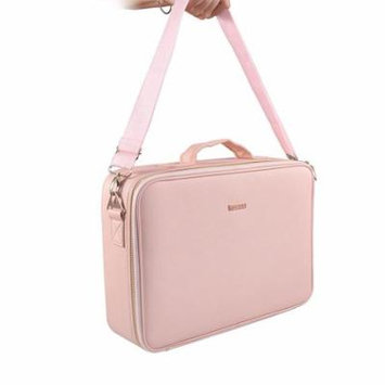 Portable Professional Make up Case Large Size Train Case Make up Artist Organizer for Make up Tool Attach on the Trolley for Trave(Pink)