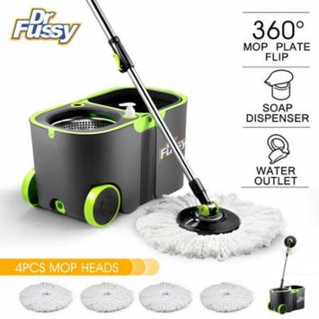 DR FUSSY 360 Spin mop and bucket system with Handle & 4X Microfiber Replacement Mop Head Refills, Stainless Steel, Detergent Dispenser, Wheels, 11L