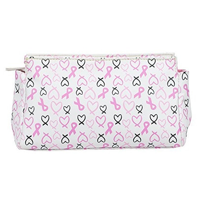 White Heart Ribbon 9 x 4 inch Wipe Clean Breast Cancer Awareness Cosmetic Bag