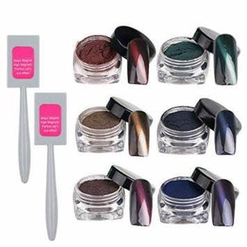 6 PCS 6 Colors Cat Eye Style Magnet Nail Powder Manicure Pigment Powder Nail Art Supplies With 2 Magnet