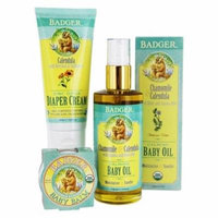 Essential Baby Set with Baby Oil & Balm plus Diaper Cream by Badger (pack of 4)