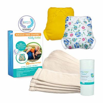 Tidy Tots Hassle Free 4 Diaper Essential Set with Owls and Marigold Covers