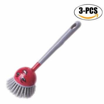 Outgeek 3Pcs Kitchen Cleaning Brush Cartoon Multi-Function Long Handle Dish Brush Washing Brush Kitchen Gadgets