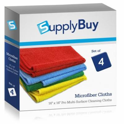 SupplyBuy Pro Multi-Surface Microfiber Towels | All-Purpose Cleaning Cloths | Pack of 4 - 16x16 (16
