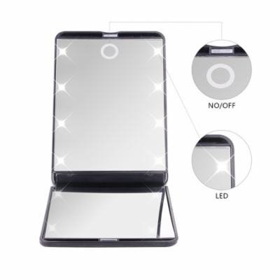 DUcare Portable Vanity Mirror Led Lights 8 1X & 2X Magnification 180 Free Rotation Cosmetic Mirror Travel
