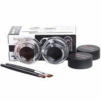 2Pcs Makeup Waterproof Eyeliner Gel Cream Eyes Cosmetic Black & Brown+Brush