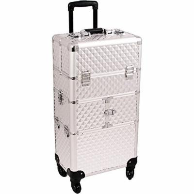 Sunrise De Mezo 2-in-1 Rolling Makeup Case Professional Nail Travel Organizer Box, Silver Diamond