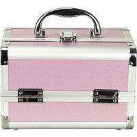 JustCase Giacinto Gallina Mini Makeup Cosmetic Train Case Organizer Storage with Mirror, Pink Matte
