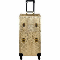 Ver Beauty Verona 2-in-1 Rolling Makeup Case Professional Nail Travel Organizer Box, Gold Python