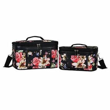 World Traveler Women's 2-Piece Cosmetic Case Set, Rose Lily
